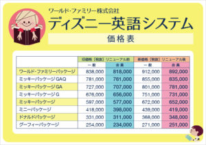 ディズニー英語システム 価格表